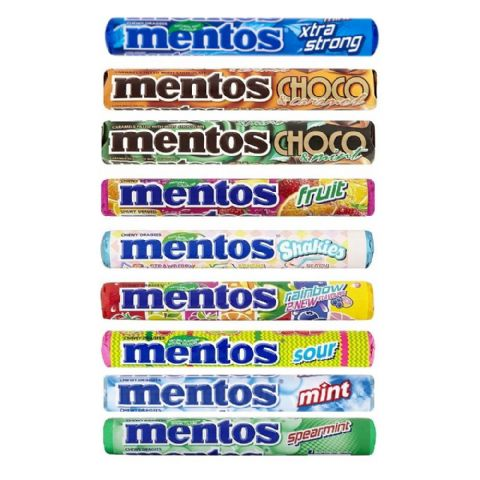 Mentos Rolls Chewy Dragees Sweets Candy Sweets 38g - Wholesale Box of 24 / 40
